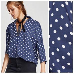 NWT. Zara Blue Viscose Polka Dots Blouse. Size S.